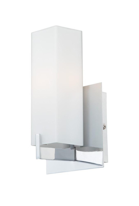 Wall Lights By Alico Moderno 1 Light Sconce In Matte Satin Nickel And White Opal Glass BV281-10-16M