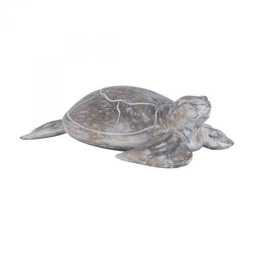 Home Decor By Sterling Industries Galapagos Turtle White Washed Albasia Wood 7159-045