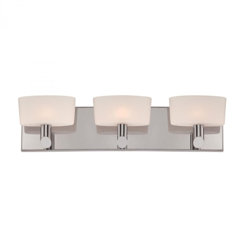 Wall Lights By Alico Toby 3 Light Vanity In Satin Nickel And White Opal Glass BV6023-10-16M