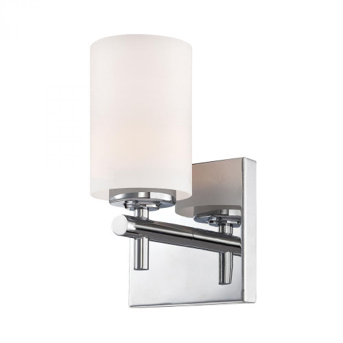 Wall Lights By Alico Barro 1 Light Vanity In Chrome And White Opal Glass BV6031-10-15
