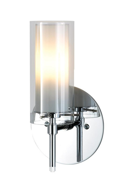 Wall Lights By Alico Tubolaire 1 Light Sconce In Chrome With Clear Outer Glass And Frosted Interior Glass BV671-90-15