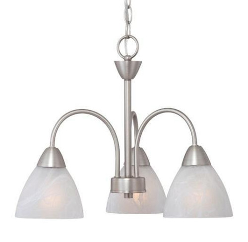 Chandeliers/Mini Chandeliers By Thomas Three-light chandelier in Matte Nickel finish with etched swirl glass. 190005117