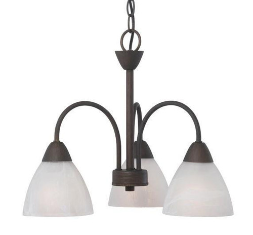 Chandeliers/Mini Chandeliers By Thomas Three-light chandelier in Painted Bronze finish with etched swirl glass. 190005763