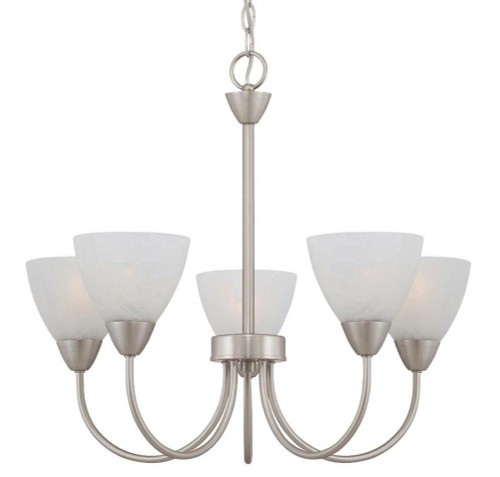 Chandeliers By Thomas Five-light chandelier in Matte Nickel finish with etched swirl glass. 190006117