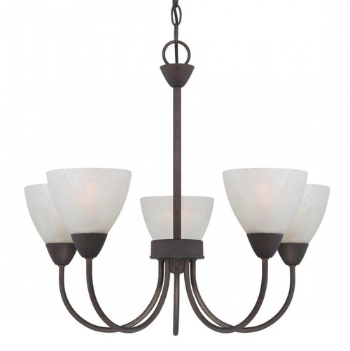 Chandeliers By Thomas Five-light chandelier in Painted Bronze finish with etched swirl glass. 190006763