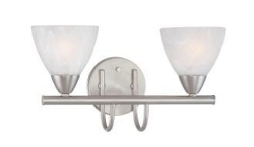 Wall Lights By Thomas Two-light bath fixture in Matte Nickel finish with etched swirl glass. 190016117