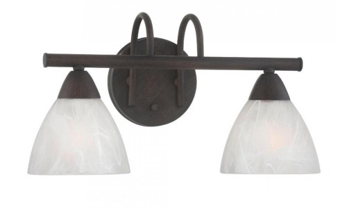 Wall Lights By Thomas Two-light bath fixture in Painted Bronze finish with etched swirl glass. 190016763