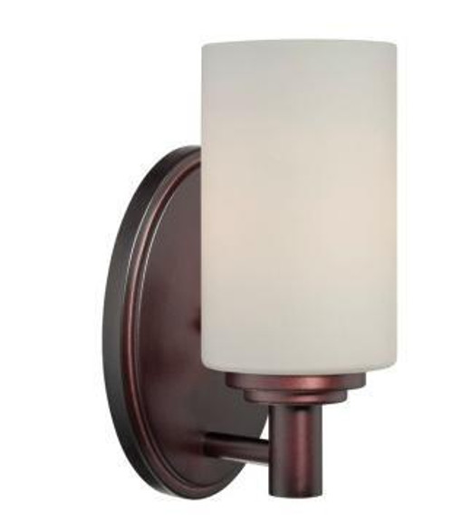 Wall Lights By Thomas One-light bath fixture in Sienna Bronze finish with etched glass. 190023719
