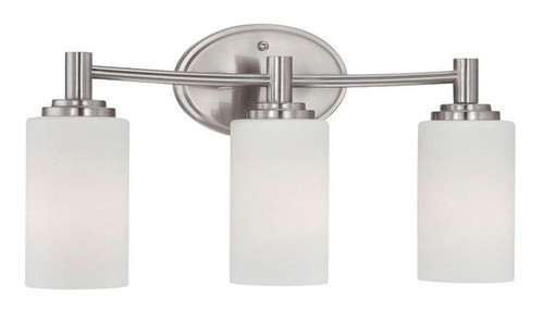 Wall Lights By Thomas Pittman 9.75in Three-light bath fixture in Brushed Nickel finish with etched glass 190024217