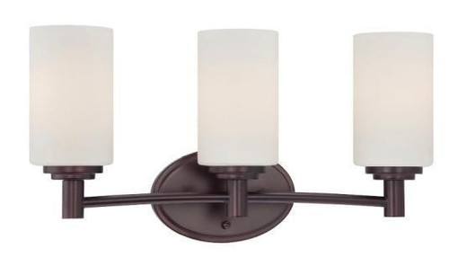 Wall Lights By Thomas Three-light bath fixture in Sienna Bronze finish with etched glass. 190024719