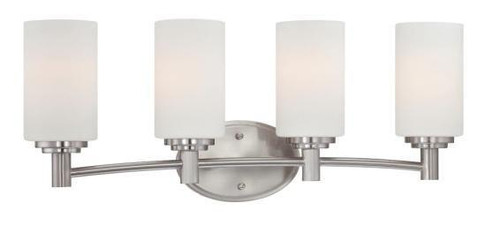 Wall Lights By Thomas Pittman 9.75in Four-light bath fixture in Brushed Nickel finish with etched glass. 190025217