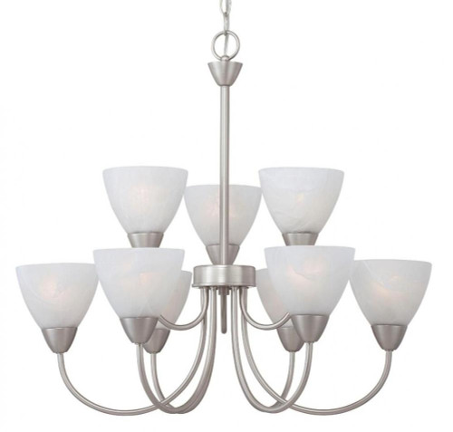 Chandeliers By Thomas Nine-light chandelier in Matte Nickel finish with etched swirl glass. 190036117