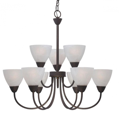 Chandeliers By Thomas Nine-light chandelier in Painted Bronze finish with etched swirl glass. 190036763