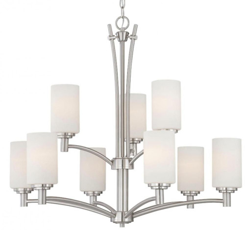 Chandeliers By Thomas Pittman 28.5in Nine-light chandelier in Brushed Nickel finish with etched glass. 190042217