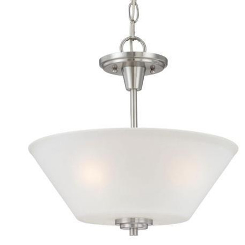 Chandeliers/Pendant Lights By Thomas Two-light pendant or ceiling semi-flush (convertible) in Brushed Nickel finish with etched glass. 190043217