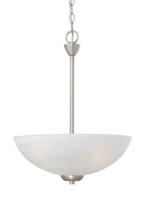 Chandeliers/Pendant Lights By Thomas Three-light pendant in Matte Nickel finish with etched swirl glass. 190058117