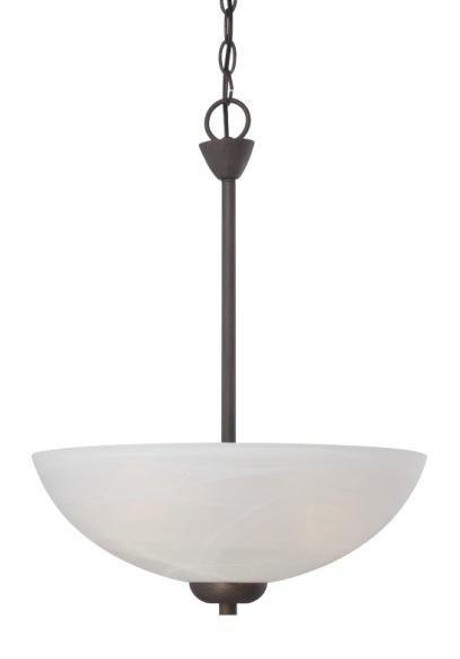 Chandeliers/Pendant Lights By Thomas Three-light pendant in Painted Bronze finish with etched swirl glass. 190058763