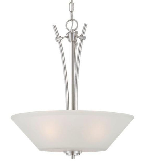 Chandeliers/Pendant Lights By Thomas Pittman 20in Three-light pendant in Brushed Nickel finish with etched glass 190061217