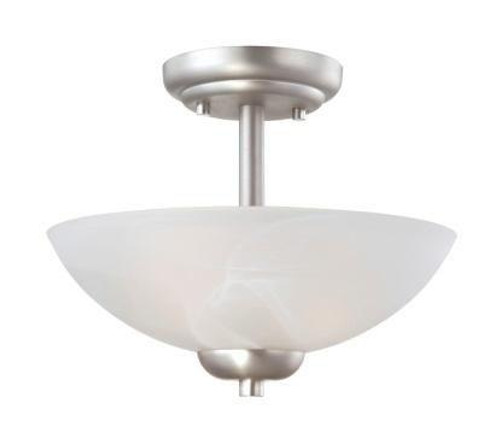 Ceiling Lights By Thomas Two-light pendant or ceiling semi-flush (convertible) in Matte Nickel finish with etched swirl glass 190067117