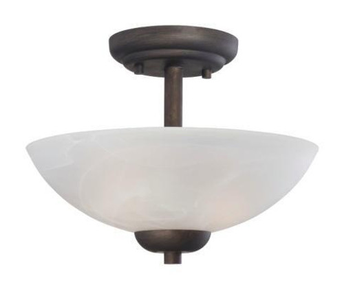 Ceiling Lights By Thomas Two-light pendant or ceiling semi-flush (convertible) in Painted Bronze finish with etched swirl glass 190067763
