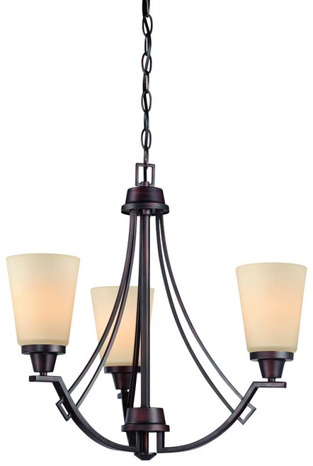 Chandeliers By Thomas Wright 0in Three-light chandelier in Espresso finish with painted champagne glass 190109704