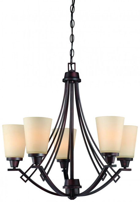 Chandeliers By Thomas Five-light chandelier in Espresso finish with painted champagne glass. 190110704