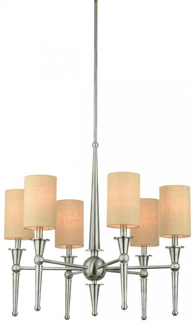 Chandeliers By Thomas Six-light chandelier in Brushed Nickel finish with bone linen shimmer shades. M209778