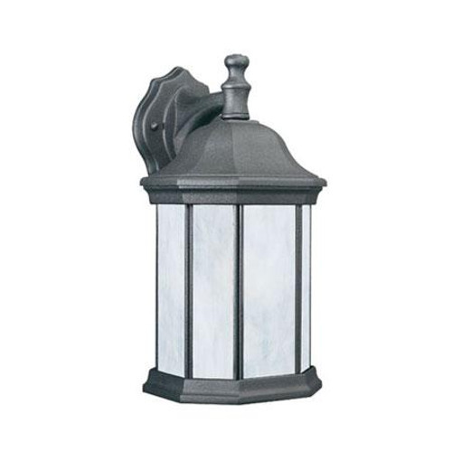 Outdoor Lights By Thomas HAWTHORNE 14in One-light fluorescent die-cast aluminum outdoor wall lantern in Black finish with etched glass PL94627
