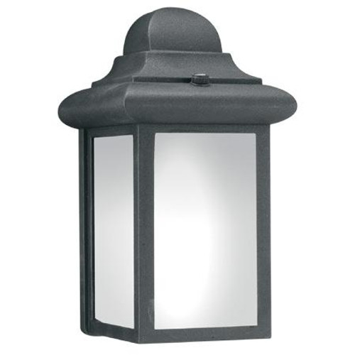Outdoor Lights By Thomas WINDBROOK 9in One-light fluorescent die-cast aluminum outdoor wall lantern in Black finish with etched glass PL94807