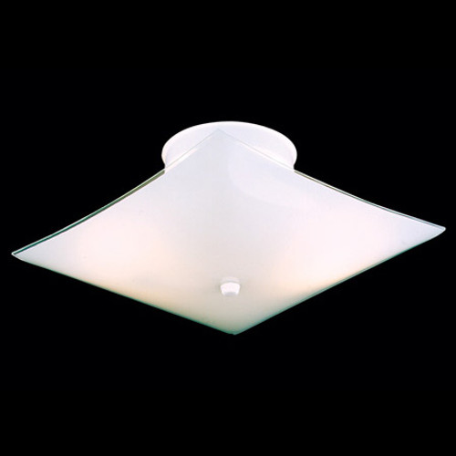 Ceiling Lights By Thomas Two-light square ceiling style in white bent glass. SL123