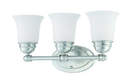 Wall Lights By Thomas Bella 9in Three-light bath fixture in Brushed Nickel finish with etched glass SL714378