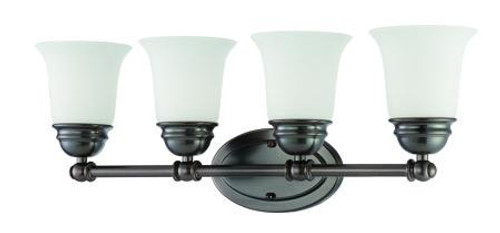 Wall Lights By Thomas Bella 9in Four-light bath fixture in Oiled Bronze finish with etched glass. SL714415