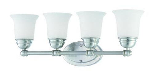 Wall Lights By Thomas Bella 9in Four-light bath fixture in Brushed Nickel finish with etched glass. SL714478