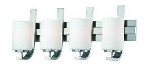 Wall Lights By Thomas Pendenza 11.5in Four-light bath fixture in Brushed Nickel finish with etched glass. SL715478