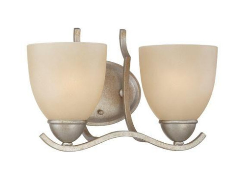 Wall Lights By Thomas Two-light bath fixture in Moonlight Silver finish with tea stained glass. SL717272