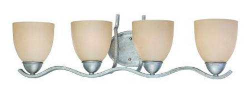 Wall Lights By Thomas Four-light bath fixture in Moonlight Silver finish with tea stained glass. SL717472