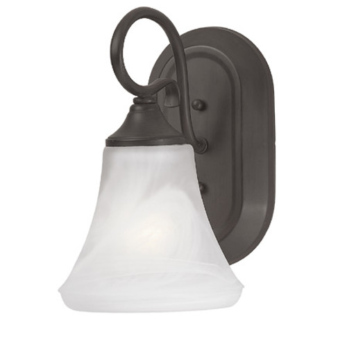 Wall Lights By Thomas One-light bath or wall sconce in Painted Bronze Finish with swirl alabaster style glass. SL744163