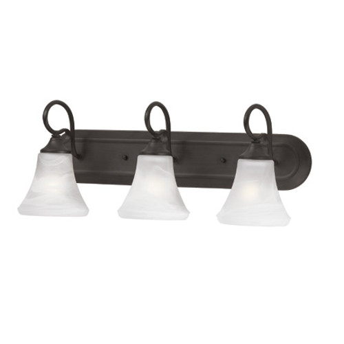 Wall Lights By Thomas Three-light bath fixture in Painted Bronze Finish with swirl alabaster style glass. SL744363