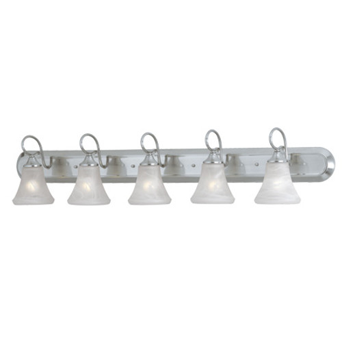Wall Lights By Thomas Five-light bath fixture in Brushed Nickel Finish with swirl alabaster style glass. SL744578