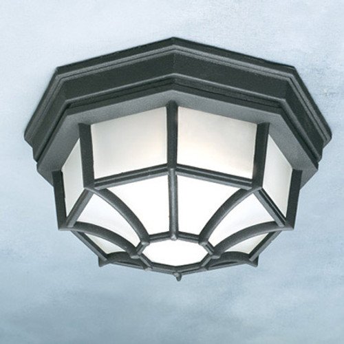 Outdoor Lights By Thomas One-light die-cast aluminum outdoor ceiling fixture in Black finish with frosted glass. SL7457