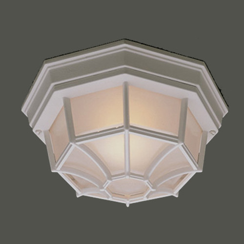 Outdoor Lights By Thomas One-light die-cast aluminum outdoor ceiling fixture in White finish with frosted glass. SL7458