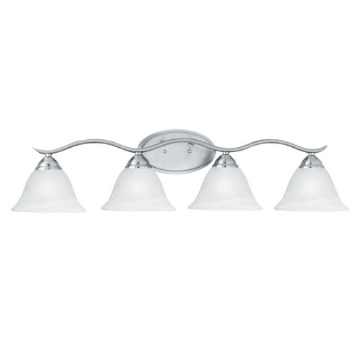 Wall Lights By Thomas PRESTIGE 8.25in Four-light bath fixture. Oval tubing and swirl alabaster glass SL748478