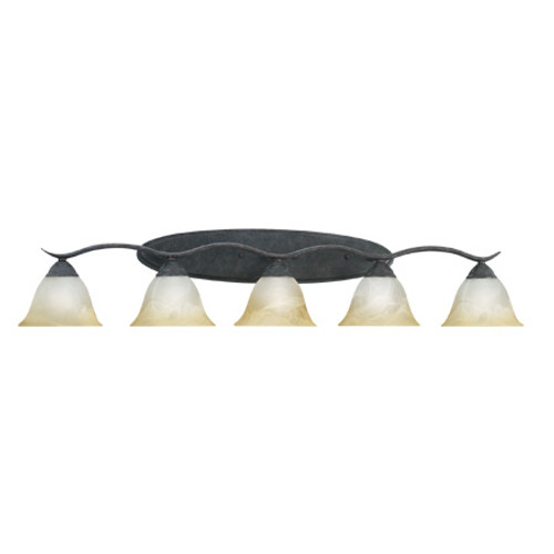 Wall Lights By Thomas Five-light bath fixture in Sable Bronze finish. Oval tubing and swirl alabaster glass SL748522