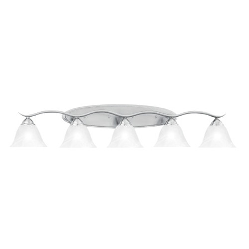 Wall Lights By Thomas Five-light bath fixture in Brushed Nickel finish. Oval tubing and swirl alabaster glass SL748578