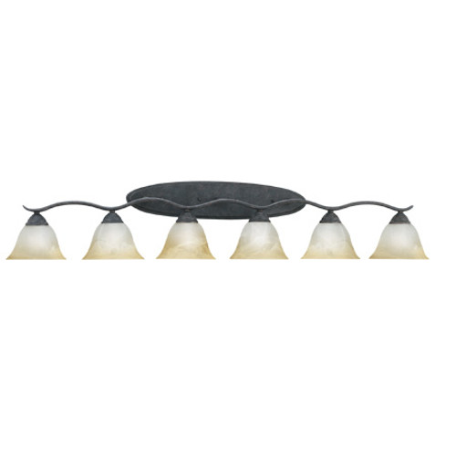 Wall Lights By Thomas Six-light bath fixture in Sable Bronze finish. Oval tubing and swirl alabaster glass produces SL748622