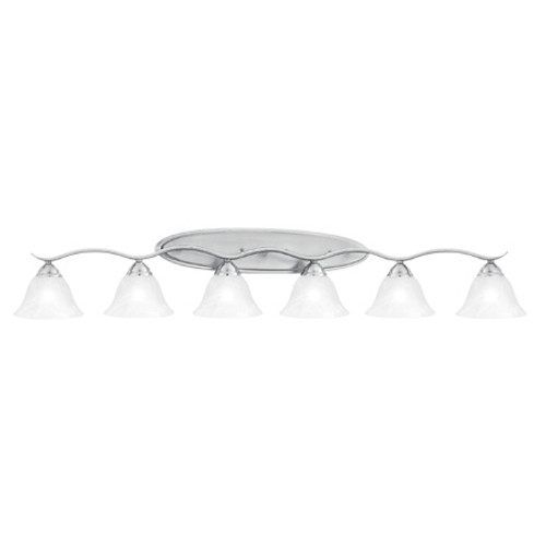 Wall Lights By Thomas Six-light bath fixture in Brushed Nickel finish. Oval tubing and swirl alabaster glass SL748678