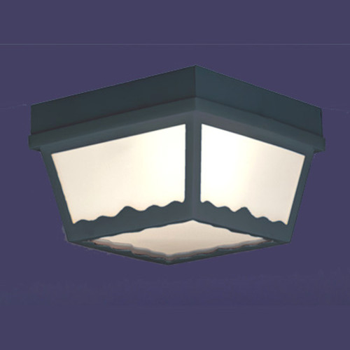 Outdoor Lights By Thomas One-light matte black finish plastic outdoor ceiling light with white plastic diffuser. SL7577