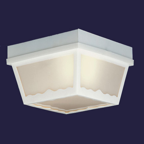Outdoor Lights By Thomas One-light white finish plastic outdoor ceiling light with white plastic diffuser. SL7578
