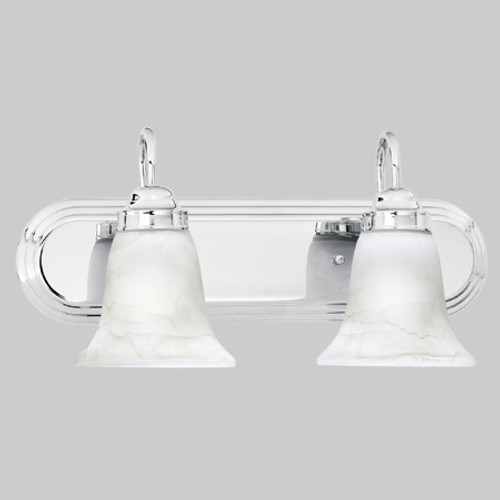 Wall Lights By Thomas Transitionally styled two-light bath fixture in Chrome finish with swirl alabaster style glass. SL75824