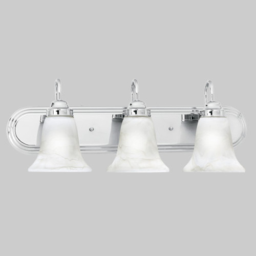 Wall Lights By Thomas Transitionally styled three-light bath fixture in Chrome finish with swirl alabaster style glass. SL75834
